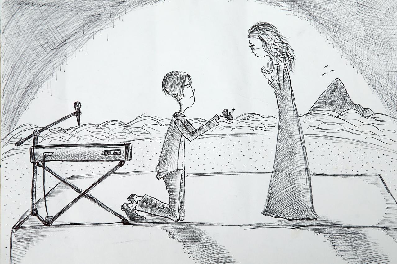 歌手陈乃荣求婚的图画。记者徐兆玄/摄影