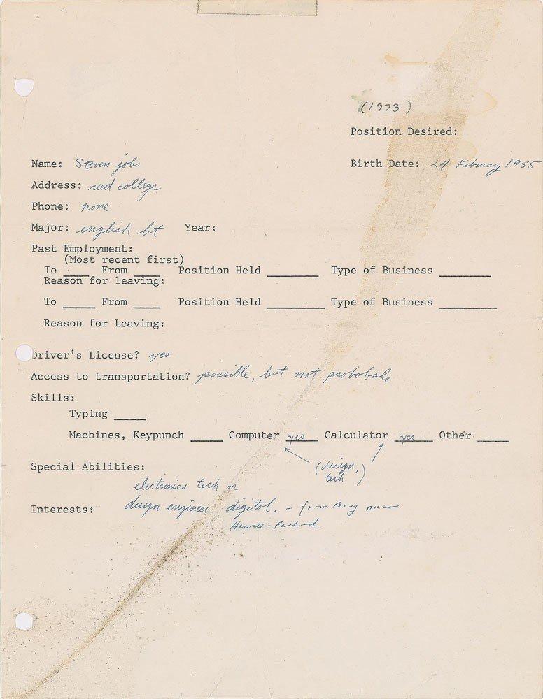 影/賈伯斯1973年求職信 台幣510萬元賣出