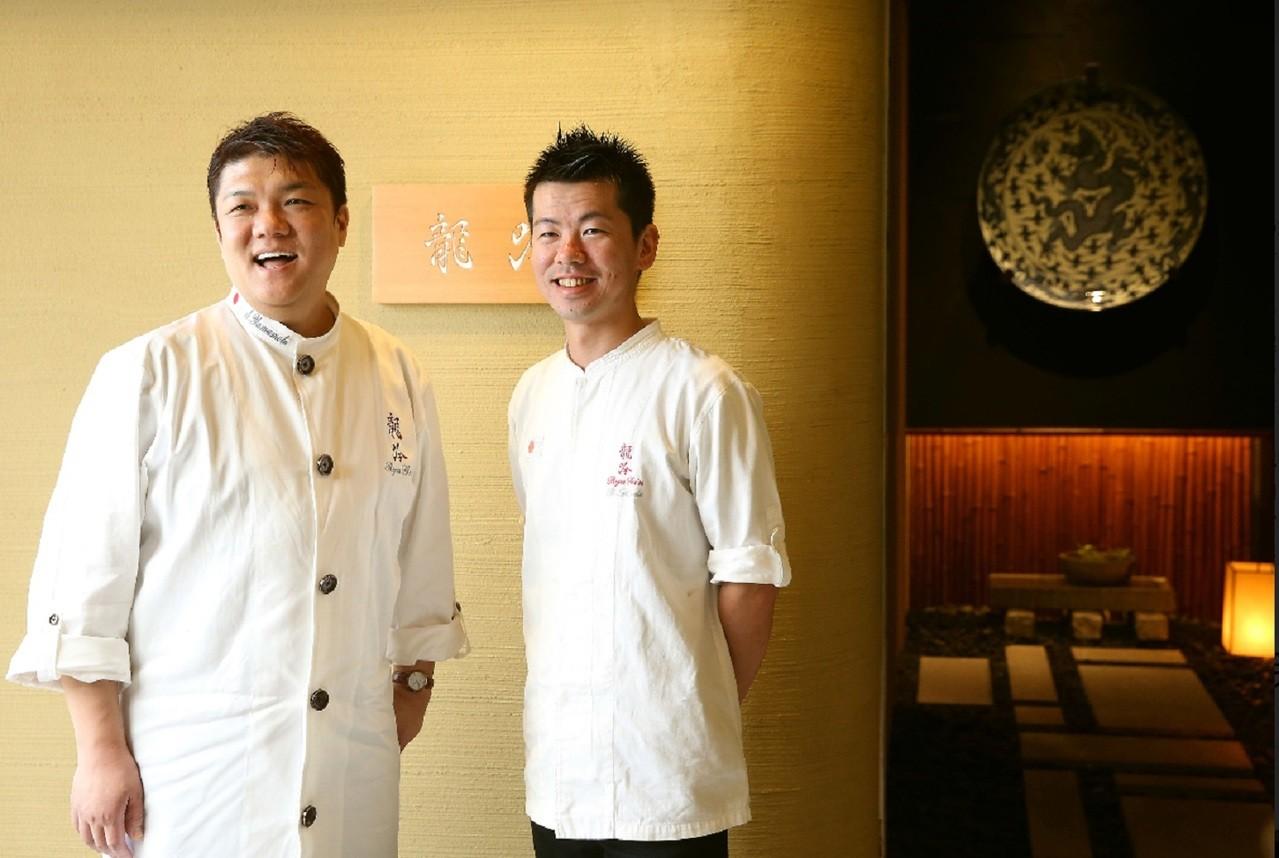 山本征治主廚(左)與稗田良平料理長。祥雲龍吟/提供