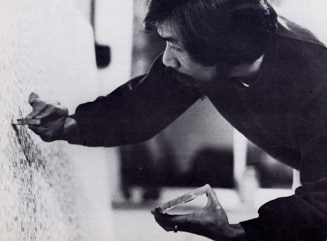 1985年創作「邂逅後的誘惑」時。誠品藝廊與莊普藝術工作室提供