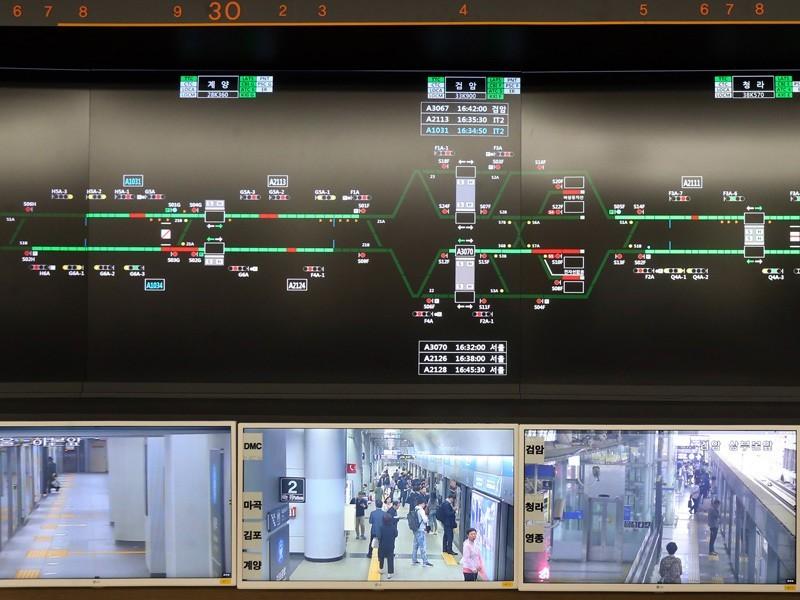 南韓機場鐵道監控中心。記者侯永全/攝影