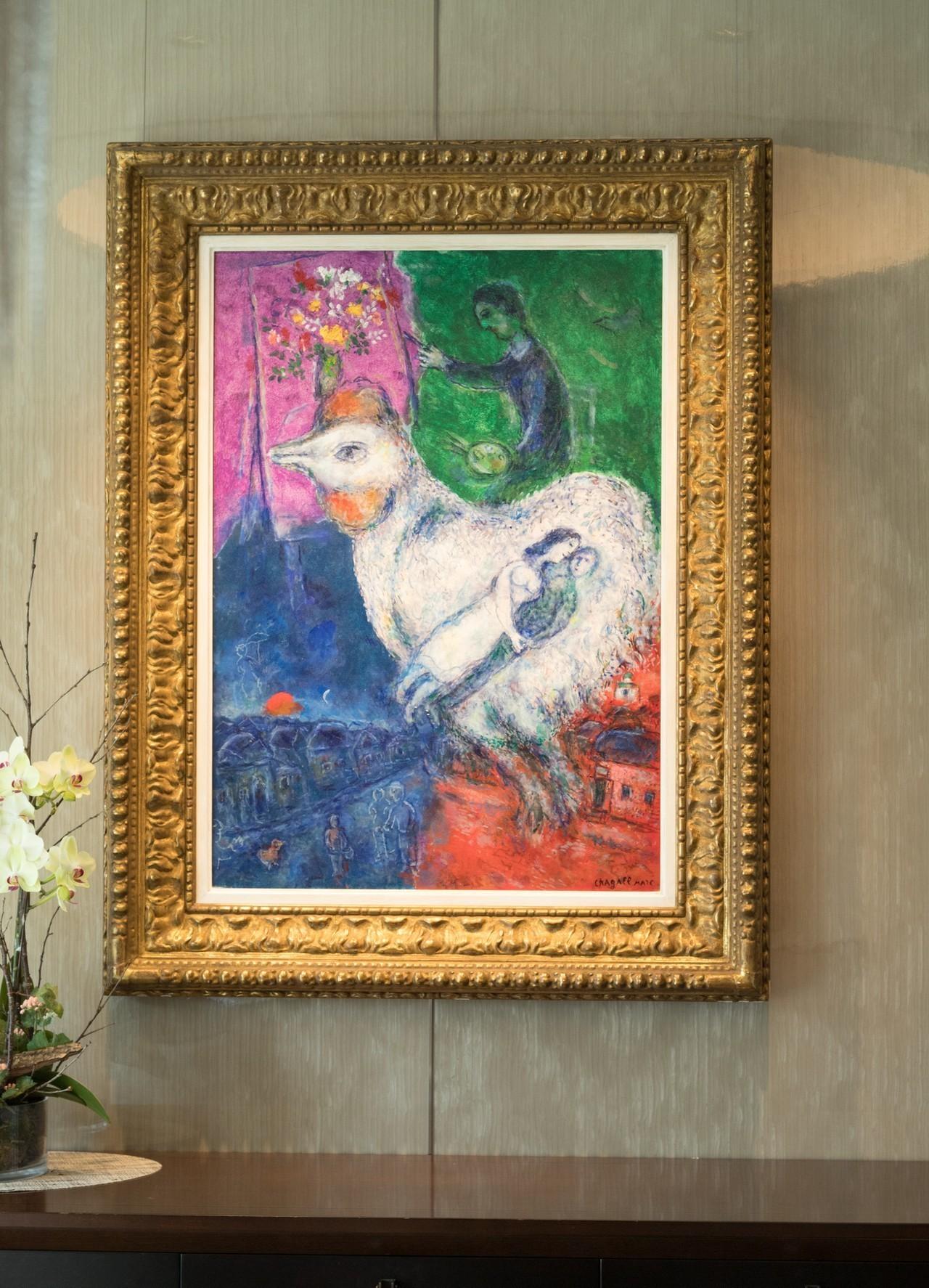 夏卡爾畫作《Grand coq blanc》。記者陳立凱/攝影