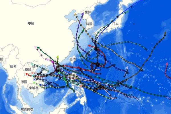 颱風全繞開台灣的情況早在1964年就發生過了。圖/氣象局颱風資料庫