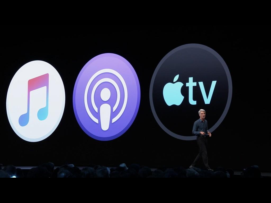 Apple Podcast(中圖示)是蘋果主力娛樂應用程式之一。圖/摘自蘋果官網
