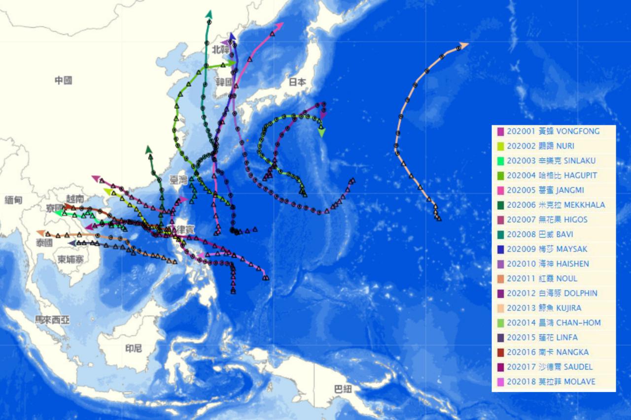 氣象局公布的18個颱風路徑全部躲過台灣。圖/氣象局