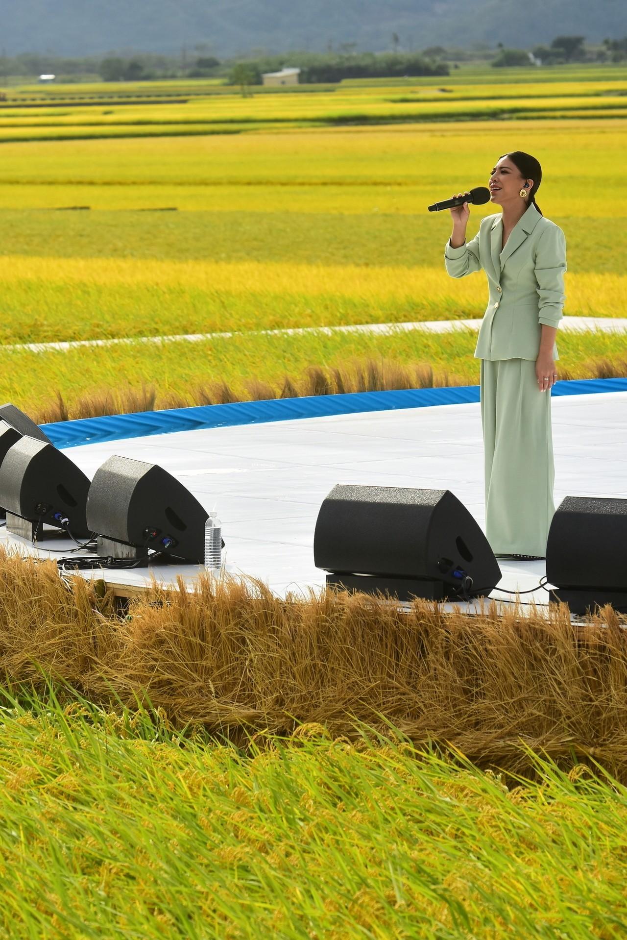 艾怡良參加「池上秋收稻穗藝術節」。圖 / 台灣好基金會提供